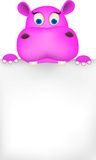Cute hippo and blank sign Royalty Free Stock Images