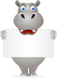 Cute hippo and blank sign Stock Images