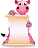 Cute hippo cartoon with blank sign Stock Images