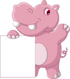 Cute hippo cartoon with blank sign Royalty Free Stock Photo