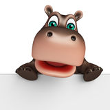 Cute Hippo cartoon character with board Stock Photography