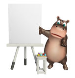 Cute Hippo cartoon character  with easel board. 3d rendered illustration of Hippo cartoon character with easel board Stock Photography