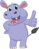 Cute hippo cartoon give thumb up Royalty Free Stock Photos