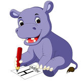 Cute hippo cartoon holding pencil Royalty Free Stock Photo