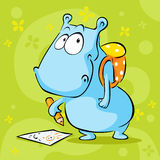Cute hippo cartoon with school bag and pencil - vector Stock Photos