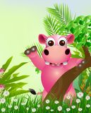 Cute hippo cartoon smiling Stock Photo