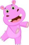 Cute hippo cartoon waving Royalty Free Stock Photography