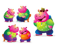 Cute hippo. Dad and son talking be happy Stock Images