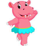 Cute hippo dancing cartoon. Illustration of  cute hippo dancing cartoon Stock Images