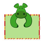 Cute hippo with a an empty board Stock Photography