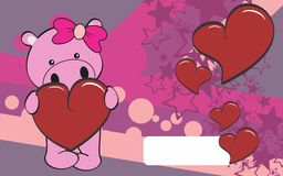 Cute hippo girl cartoon valentine backgorund Stock Image