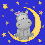 Cute Hippo on the moon Stock Photo