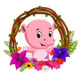 Cute hippo in root of tree frame with flower vector illustration