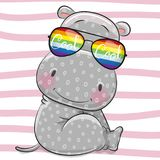 Cute Hippo with sun glasses. Cool Cartoon gray Hippo with sun glasses Stock Image