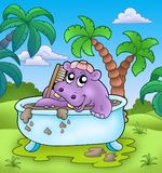 Cute hippo taking mud bath Stock Photography