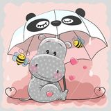 Cute Hippo with umbrella. Cute Hippo and two bee with umbrella Stock Photos