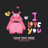 Cute hippopotamus in love romantic illustration Stock Images