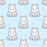 Cute hippopotamus Seamless Pattern Background vector illustration