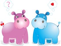 Cute hippos in love stock illustration