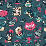 Cute hipster cat faces kitty pet head avatar emotion icons seamless pattern background vector illustration Stock Images