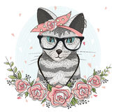 Cute hipster cat with glasses, scarf and flowers Royalty Free Stock Photos
