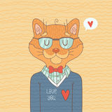 Cute Hipster Cat Royalty Free Stock Images