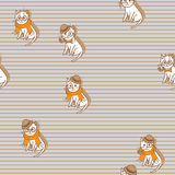 Cute Hipster Cats Seamless Pattern. Pets Retro Background. Vector Illustration Stock Image