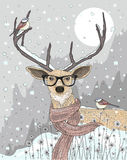 Cute hipster  deer with scarf and glasses. Winter night. Christmas illustration Royalty Free Stock Images
