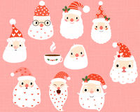 Cute, hipster and funny Santa heads Stock Images