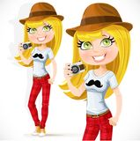 Cute hipster girl with a camera Stock Photo