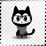 Cute hipster kitty in clothes Royalty Free Stock Photo