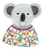 Cute hipster koala. Stock Photos
