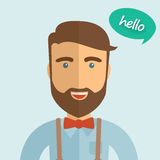 Cute hipster man with bowtie and beard, flat design illustration Royalty Free Stock Photos