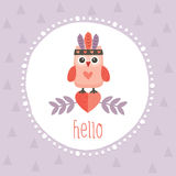 Cute hipster owlet purple Stock Photography