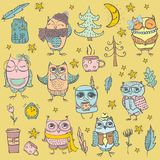 Cute hipster owls set Stock Images