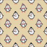 Cute Hipster Penguins Seamless Background Stock Image