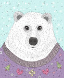 Cute hipster polar bear with christmas sweater Stock Images