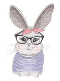Cute hipster rabbit with glasses vector illustration