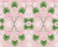 852b533a8e7 Cute hipster seamless pattern with flamingos and palm. royalty free  illustration