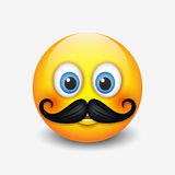 Cute hipster smiling emoticon, with mustache emoji, smiley - vector illustration. Cute hipster smiling emoticon, with mustache emoji - smiley stock illustration