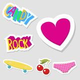 Cute hipster stickers scrapbook drawing vector illustration fashion patch pop design hand drawn badges. Stock Photography