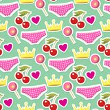 Cute hipster stickers scrapbook drawing vector illustration fashion patch pop art seamless pattern background. Royalty Free Stock Photography