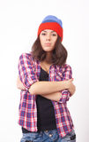 Cute hipster teenage girl with beanie hat Royalty Free Stock Photos
