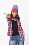 Cute hipster teenage girl with beanie hat. Posing looking at camera stock images