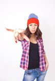 Cute hipster teenage girl with beanie hat Stock Images