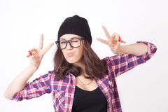 Cute hipster teenage girl with beanie hat Stock Image