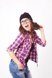 Cute hipster teenage girl with beanie hat Royalty Free Stock Photography