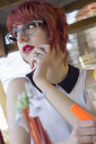 Cute hipster teenage girl in a coffee shop Stock Photos