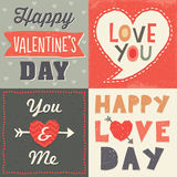 Cute hipster typographic valentine card set. Set of hipster style typographic love cards and banners for Valentines Day in retro style with cool hand made fonts Royalty Free Illustration