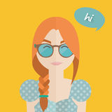Cute hipster woman with braid, glasses and dress, flat design illustration Stock Photography